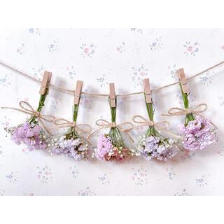 淡い3種のバラとかすみ草のパステルラベンダードライフラワーガーランド♡スワッグ♡(ドライフラワー)