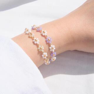 ビーズブレスレット 《pearl yellow & pearl purple 》