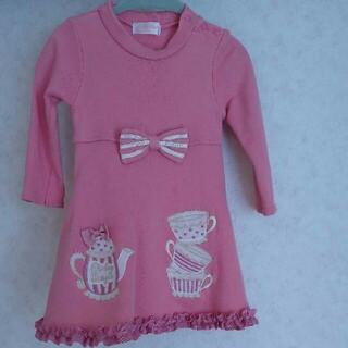 Shirley Temple - シャーリーテンプル ティーポット柄ピンク色ワンピース 100