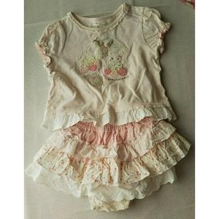 クーラクール(coeur a coeur)のクーラクール 苺トップスインナーパンツ付きスカートセット      80(シャツ/カットソー)