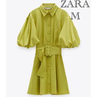 ZARA - ZARA ベルト付きフルスリーブワンピース  ベルト付きミニワンピース