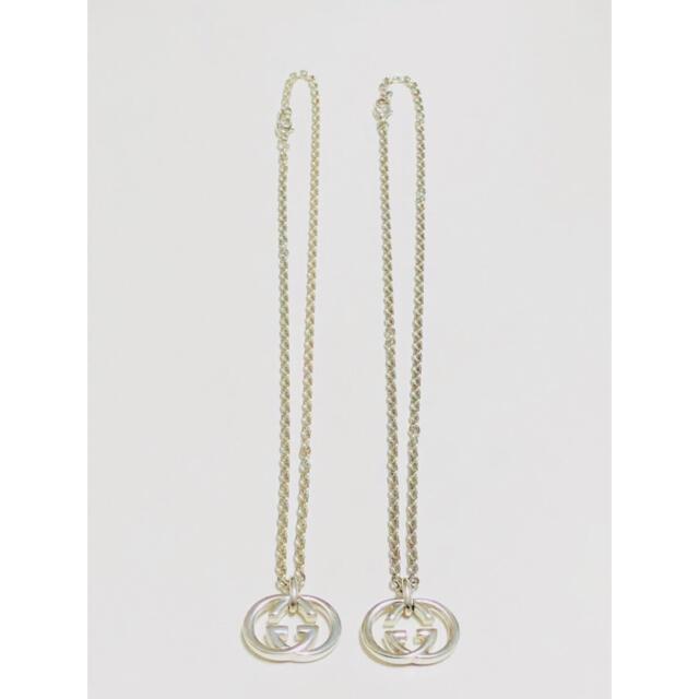 Gucci(グッチ)のGUCCI グッチ インターロッキング 2個セット シルバー ネックレス 中古 メンズのアクセサリー(ネックレス)の商品写真
