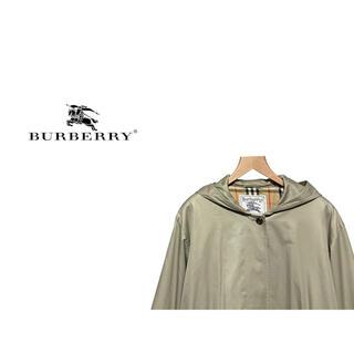 バーバリー(BURBERRY)のVintage Burbbery フード ステンカラー コート / ノバチェック(スプリングコート)