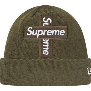 シュプリーム(Supreme)のsupreme cross box logo beanie olive(ニット帽/ビーニー)