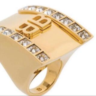 バレンシアガ(Balenciaga)のBALENCIAGA バレンシアガ ロゴ ラインストーン ゴールド リング 指輪(リング(指輪))