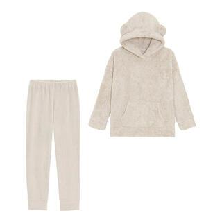 GU - beige マシュマロフィールラウンジセット(長袖)(クマミミ) GU