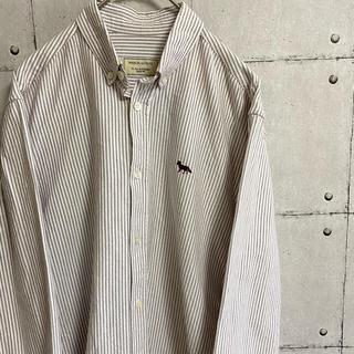 MAISON KITSUNE' - メゾンキツネ 刺繍ロゴ ストライプシャツ ボタンダウン ブラウン ワインレッド