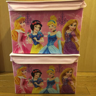 ディズニー(Disney)のプリンセス 蓋付き折りたたみ収納ボックス 2点 used(ケース/ボックス)
