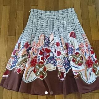 インディオ(indio)のハイビスカス柄 膝丈スカート(ひざ丈スカート)