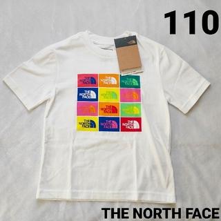 THE NORTH FACE - ノースフェイス 110 半袖Tシャツ 白 カラフルロゴ ホワイト 新品