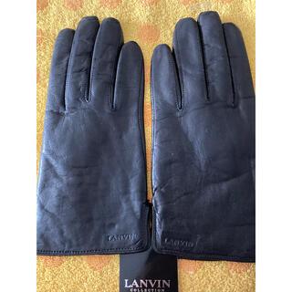 ランバン(LANVIN)のLANVIN ランバン革手袋黒インナーニット22(手袋)