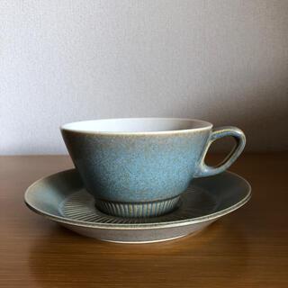 アラビア(ARABIA)の北欧 デンマーク Knabstrup ナブストラップ社製 ティーカップ&ソーサー(花瓶)