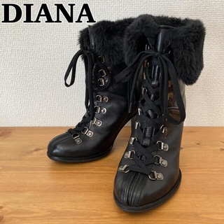 DIANA - DIANA ダイアナ ファー付き ショートブーツ ヒールブーツ ブラック
