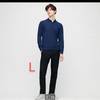 UNIQLO - 送料無料 エクストラファインメリノニットポロシャツ ブルー L