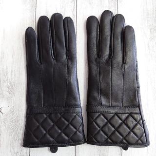 手袋 黒 ブラック 羊革 レザー手袋 革  裏起毛 暖かい 傷あり 1