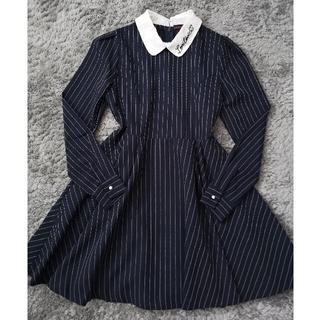 ラブトキシック(lovetoxic)のLOVETOXIC 襟付きワンピース ストライプ 卒服 ネイビー サイズM(ドレス/フォーマル)