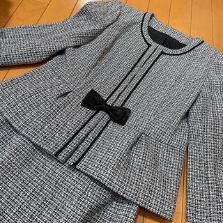 ツイード調 ノーカラージャケット スーツ 11号