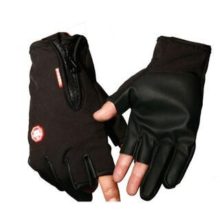フィッシング グローブ 釣り 手袋 指3本出し 厚手 防寒 フリーサイズ 春 秋(ウエア)