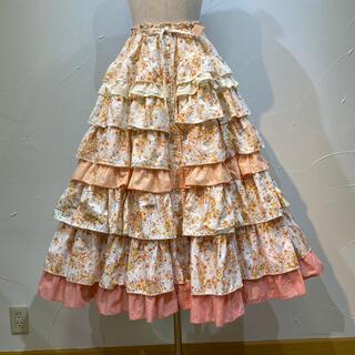 PINK HOUSE - ピンクハウス 全体的にオレンジ系ピンクの段々スカートです。春から夏にお薦め❗️