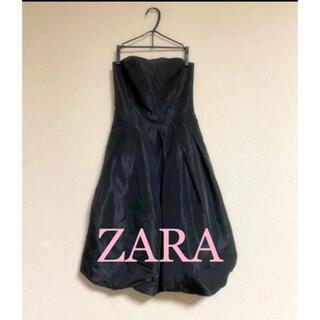 ザラ(ZARA)のZARA basic 黒サテンバルーンドレス(ミニドレス)