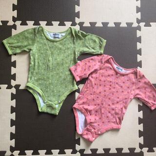 スキップランド(Skip Land)の肌着 ロンパース 花柄 2枚セット ピンク 黄緑 70(肌着/下着)