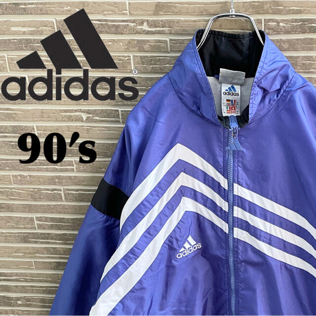 adidas(アディダス)の90s アディダス ナイロンジャケット パフォーマンスロゴ 古着 ビンテージ メンズのジャケット/アウター(ナイロンジャケット)の商品写真
