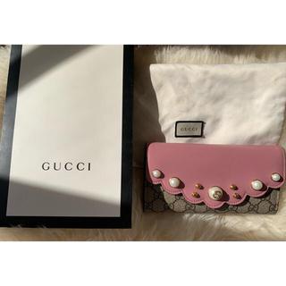 Gucci - グッチ GGスプリームキャンバス フェイクパール コンチネンタルウォレット