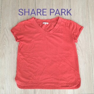 SHARE PARK★Vネック半袖Tシャツ オレンジ サイズ1(Tシャツ(半袖/袖なし))