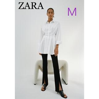 ZARA - ZARA ザラ リブフレアレギンス センタースリット パンツ M