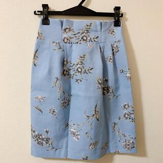 Noela - 【春服】ノエラ/ハイウエスト花柄台形スカート(アイスブルー)Sサイズ