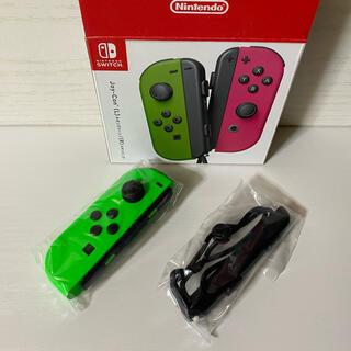 ニンテンドースイッチ(Nintendo Switch)の新品未使用、Nintendoスイッチジョイコングリーンとストラップ(家庭用ゲーム機本体)