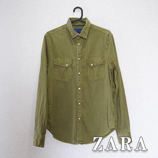 ZARA - ZARA ザラ ウエスタンシャツ ネルシャツ オリーブ