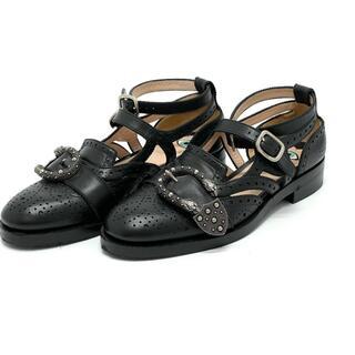 Gucci - GUCCI グッチ 452860 ブローグシューズ ビーンズ ブラック 黒