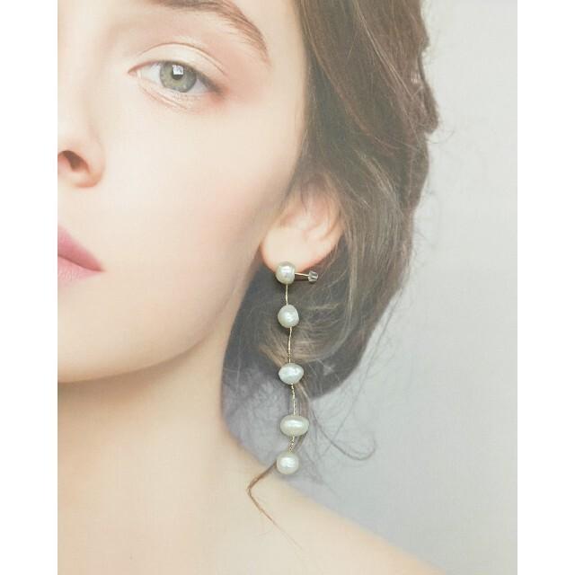 silver925ポスト 淡水パール ロング ゆらゆらア ピアス / イヤリング ハンドメイドのアクセサリー(ピアス)の商品写真