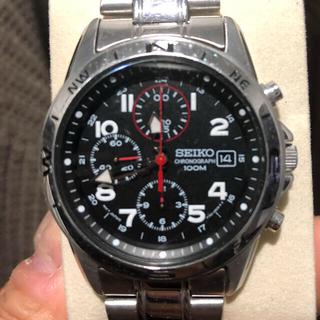 セイコー(SEIKO)の SEIKO/セイコークロノグラフ メタルベルト ブラック文字盤(腕時計(アナログ))