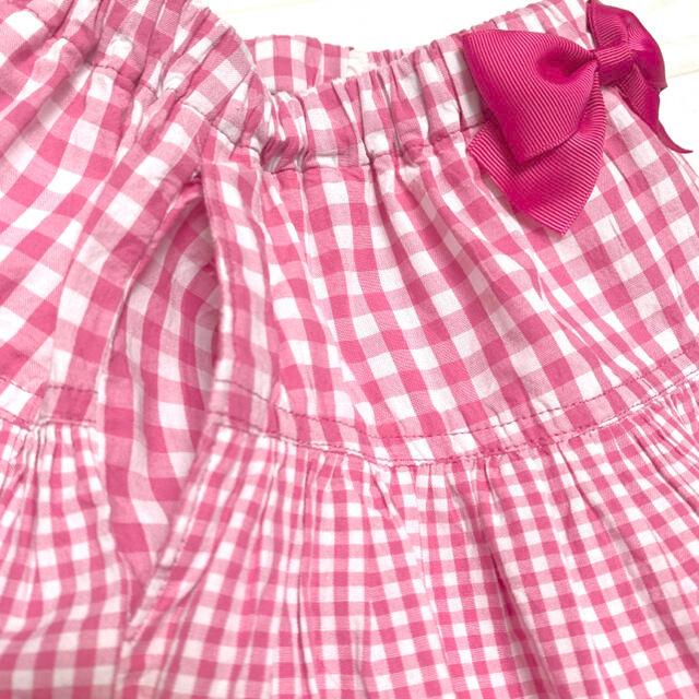 mezzo piano(メゾピアノ)のメゾピアノ♪ギンガムチェック♡ロゴ刺繍♪ふんわり スカート 140cm キッズ/ベビー/マタニティのキッズ服女の子用(90cm~)(スカート)の商品写真