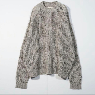 SUNSEA - yoke LARGE MESHED CREW NECK RIB KNIT
