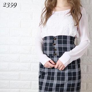rienda - 着画★2359【トップス×スカート】レース刺繍シフォンチェックタイト