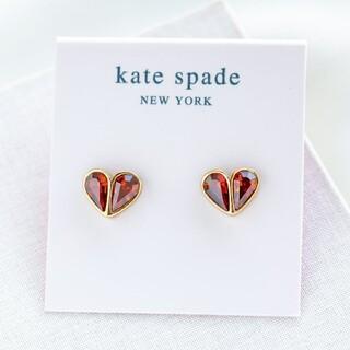 kate spade new york - 【新品♠本物】ケイトスペード ストーンハートピアス レッド