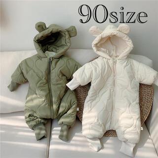 くまさんジャンプスーツ ホワイト 90サイズ ダウン 韓国子供服