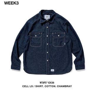 W)taps - CELL LS / SHIRT. COTTON. CHAMBRAY デニムシャツ