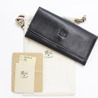 イルビゾンテ(IL BISONTE)の新品 イルビゾンテ 三つ折り 財布 ブラック 黒 レザー 二つ折り 人気 大容量(財布)