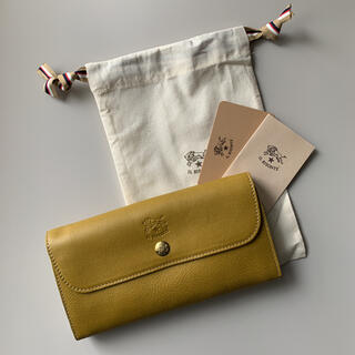 イルビゾンテ(IL BISONTE)の【新品】イルビゾンテ 二つ折り財布 長財布 オリーブドラブ イエロー(財布)