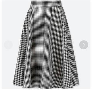 UNIQLO - UNIQLO サーキュラースカート ギンガム 白黒 Sサイズ