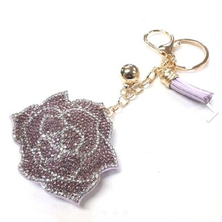 紫の薔薇モチーフキラキラバッグチャームキーホルダー(キーホルダー)