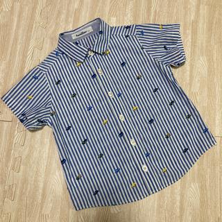 familiar - ファミリア  シャツ 半袖 車 刺繍 ストライプ 110