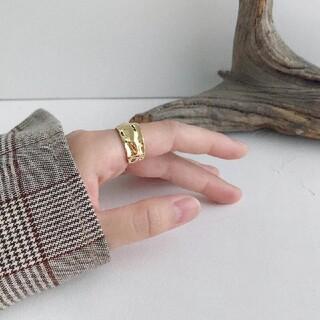アダムエロぺ(Adam et Rope')のsilver925(刻印あり)太めリング  gold サイズ調整可(リング(指輪))