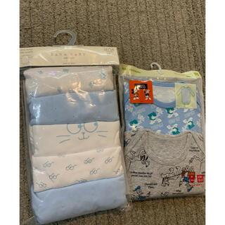 ザラキッズ(ZARA KIDS)のZARA baby & UNIQLO 7枚新品下着 長袖ロンパース 90(ロンパース)