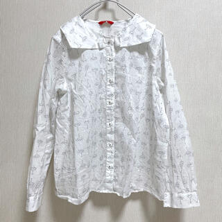 プードゥドゥ(POU DOU DOU)のPOUDOUDOU ブラウス シャツ 透け感 ホワイト 白 照明 ライト 総柄(シャツ/ブラウス(長袖/七分))