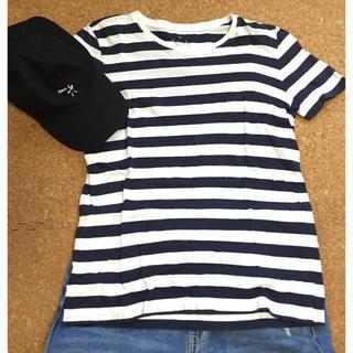 ムジルシリョウヒン(MUJI (無印良品))の無印良品 ボーダーTシャツネイビー(Tシャツ(半袖/袖なし))